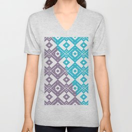 Blue purple white geometric shapes pattern Unisex V-Neck