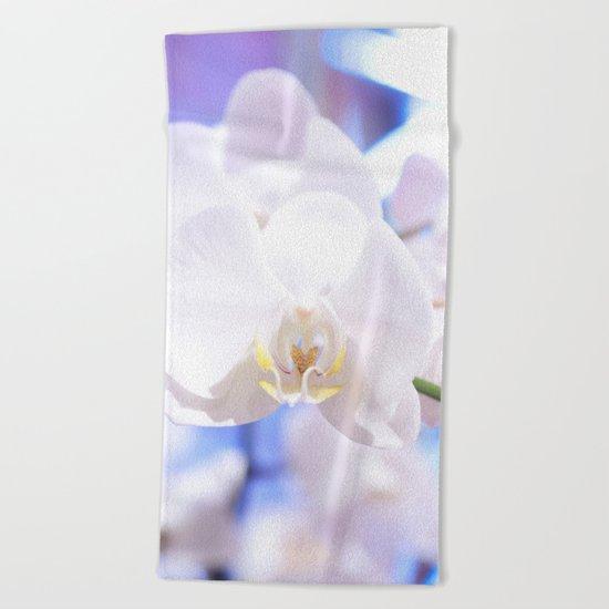 White Orchid Close-up #1 #decor #art #society6 Beach Towel