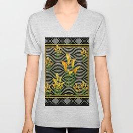 Golden Calla Lilies Black-Grey Harlequin Art Unisex V-Neck