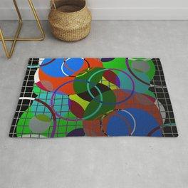 Caged Geometry - Abstract, metallic, geometric, rainbow coloured circles Rug