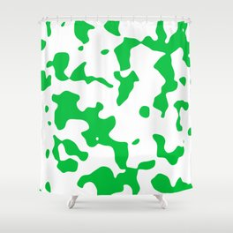 Large Spots - White and Dark Pastel Green Shower Curtain
