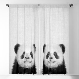 Panda Bear - Black & White Blackout Curtain
