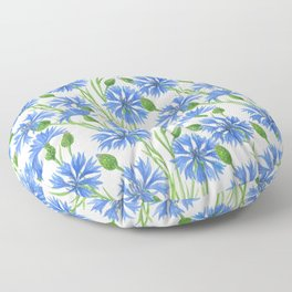 Watercolor cornflower pattern Floor Pillow