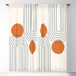 Mid Century Modern Geometric 88 in Navy Blue and Burnt Orange (Rainbow and Sun Abstraction) Blackout Curtain