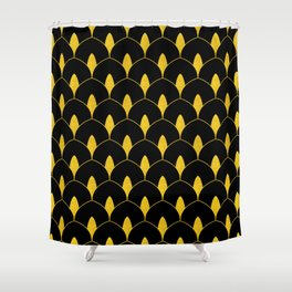 Dry Martini Gold and Black Art Deco Pattern Shower Curtain