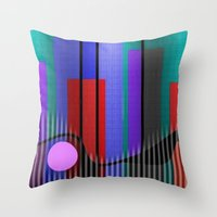 band Throw Pillows featuring Jazz Band by Kristine Rae Hanning