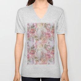 Modern blush pink ivory botanical watercolor floral Unisex V-Neck