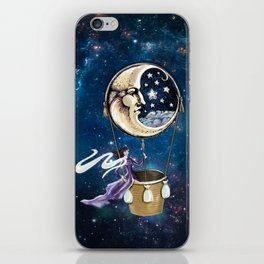 Vintage hot air ballon in a starry galaxy night sky iPhone Skin