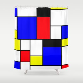 Red Blue Yellow Geometric Squares Shower Curtain