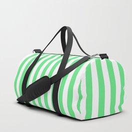 Algae Green and White Vertical Deck Chair Stripes Duffle Bag