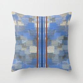 Blue Lagoon Calm Striped Abstract Throw Pillow