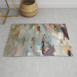 Gentle Beauty [3] - an elegant acrylic piece in deep purple, red, gold, and white Rug