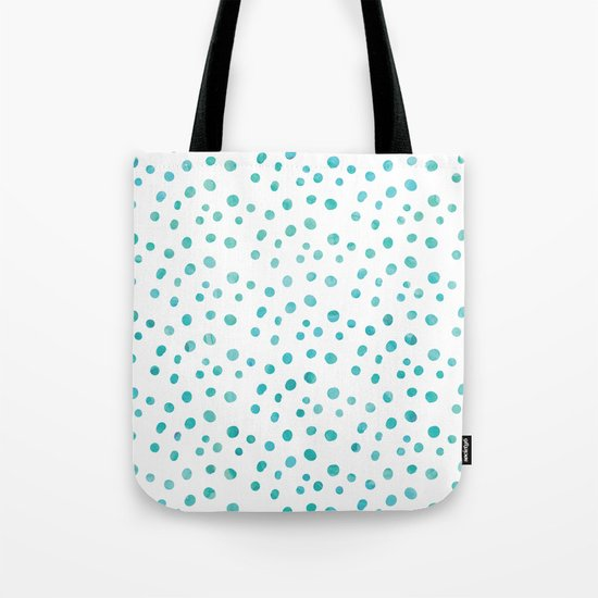 Small Blue Watercolor Abstract Polka Dots Tote Bag