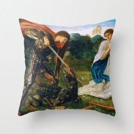 St George kills the dragon VI by Edward Burne-Jones. Throw Pillow