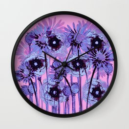 blue flowers on pink background Wall Clock