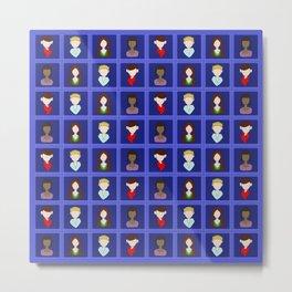 Checkered Merlin - Blue Metal Print