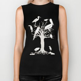 beige tree with birds Biker Tank