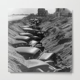 Cars Buried at Andrea Hotel - Misquemicut Beach, Westerly Rhode Island after 1954 Hurricane Carol Metal Print