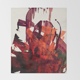 Embers (2): A bold abstract piece in reds, gray, and white Throw Blanket