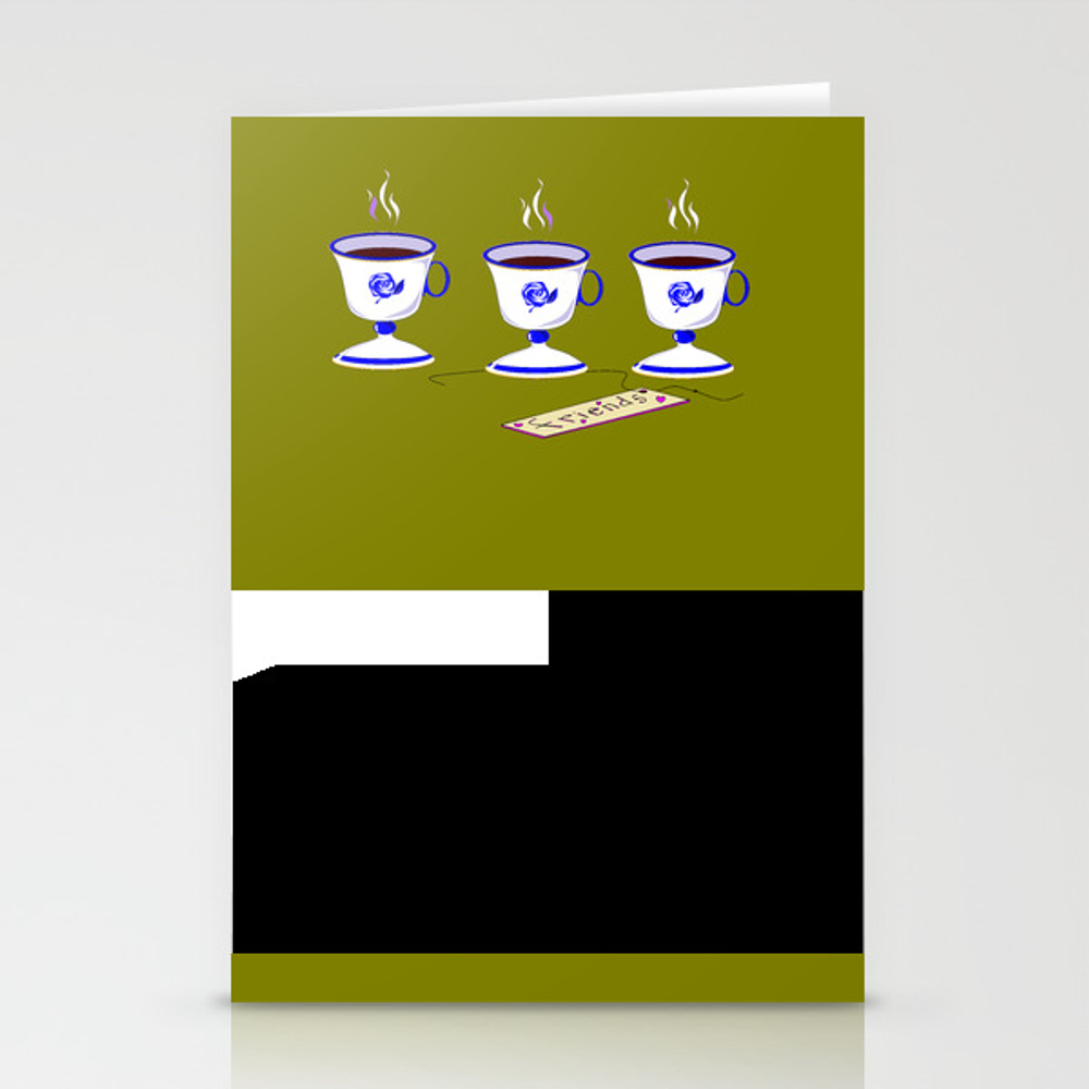 Coffee With Friends In Vintage Porcelain Cups Stationery Cards by Judysnyder007 CRD9041472