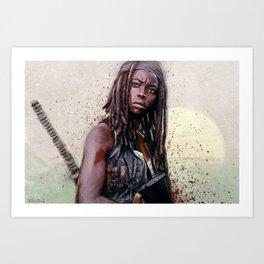 Michonne On The Walls Of Alexandria - The Walking Dead Art Print