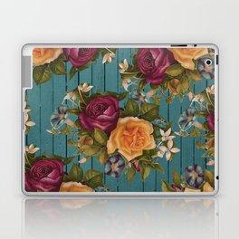Vintage green wood coral burgundy roses floral Laptop & iPad Skin