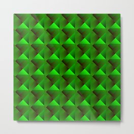 Optical pigtail rhombuses from green squares in the dark. Metal Print