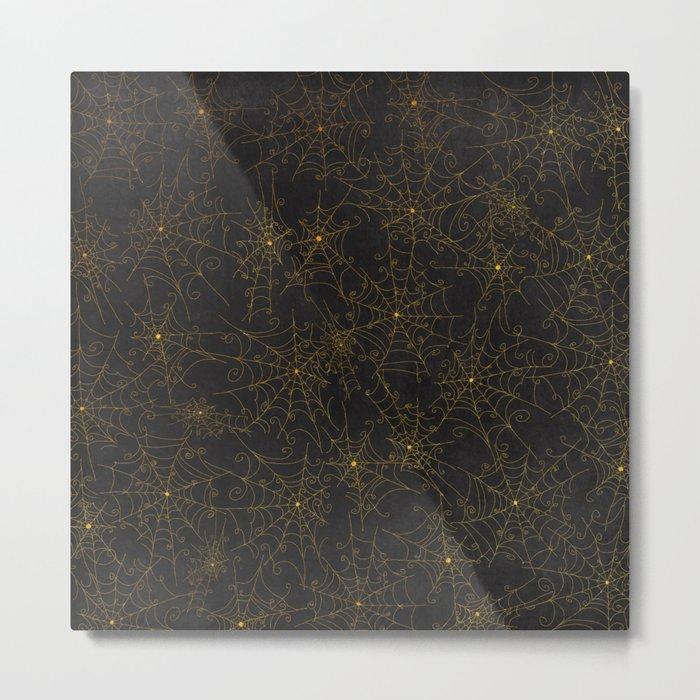 Autumn-world 4 - gold spiderwebs on chalkboard Metal Print