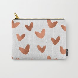 Rose Gold Pink Hearts on Paper Carry-All Pouch