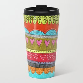hand drawn brightly colored stripes with hearts Travel Mug