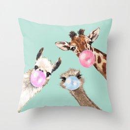 Bubble Gum Gang in Green Throw Pillow