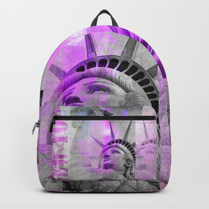 Statue of  Liberty pink mixed media art Backpack