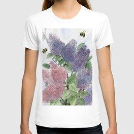 Lilacs and Bees Watercolor Painting T-shirt
