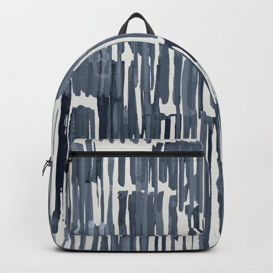 Simply Bamboo Brushstroke Indigo Blue on Lunar Gray Backpack
