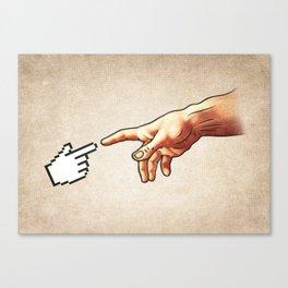 Funny 8bit Nerd & Geek Humor (Creation of Adam Parody) Canvas Print