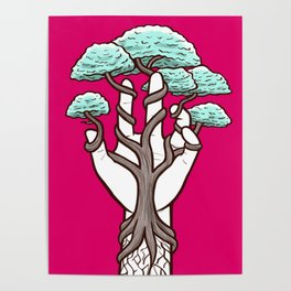 Tree growing within a hand – interlacing of nature and humanity Poster