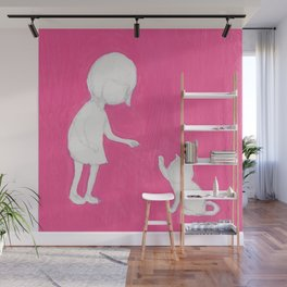 pink girl high five cat touch Wall Mural