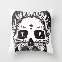 calavera Throw Pillows featuring Calavera by Sofia Bolona