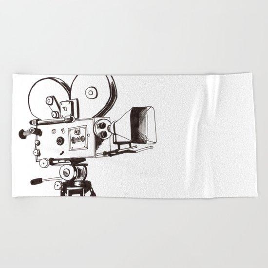 vintage filming Beach Towel
