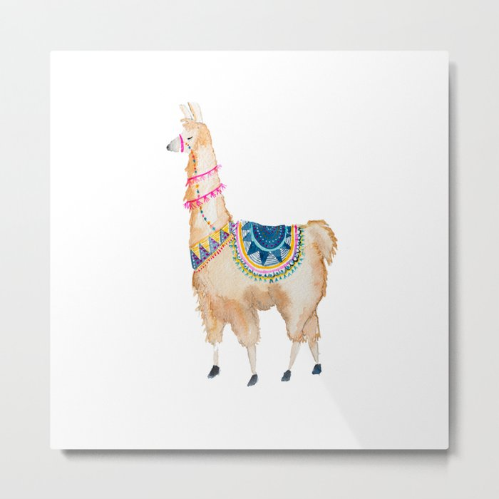 Watercolor llama Metal Print