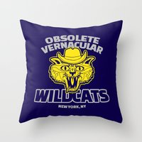 royal tenenbaums Throw Pillows featuring Obsolete Vernacular Wildcats (Royal Tenenbaums) by Tabner's