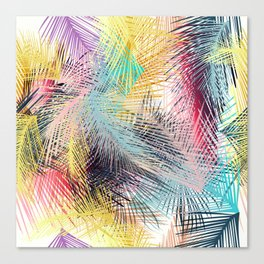 Jungle pampa colorful forest. Tropical fresh forest pattern with palms Canvas Print