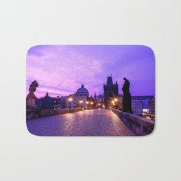 Historic Charles Bridge In Prague Czech Republic Purple Shade Ultra HD Bath Mat