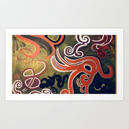 Green and Red Abstract Painting Art Print