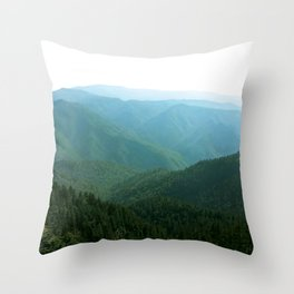 Summer Hues Smoky Mountains Painting National Park Art Mountain Nature Forest Landscape Throw Pillow