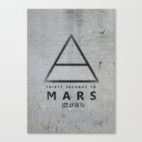30 seconds to mars Canvas Prints featuring 30 Seconds to Mars - stencil on brick wall by sky0323