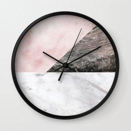 Smokey marble blend - pink and grey stone Wall Clock