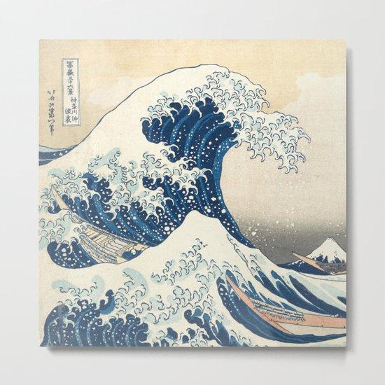 The Classic Japanese Great Wave off Kanagawa by Hokusai Metal Print
