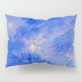 The Teapot Village - Blue Japanese Lighthouse Village Artwork Pillow Sham
