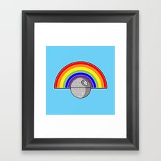 Death Star Rainbow Framed Art Print